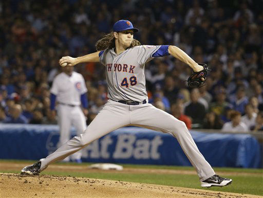 "<div class=""meta image-caption""><div class=""origin-logo origin-image none""><span>none</span></div><span class=""caption-text"">New York Mets pitcher Jacob deGrom throws during the first inning of Game 3 of the National League baseball championship series against the Chicago Cubs. (AP Photo/Nam Huh) (AP Photo/ Nam Huh)</span></div>"