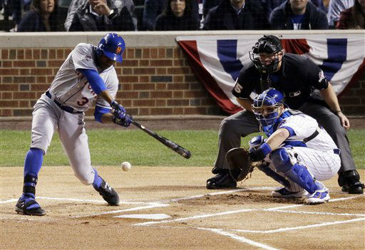 "<div class=""meta image-caption""><div class=""origin-logo origin-image none""><span>none</span></div><span class=""caption-text"">New York Mets' Curtis Granderson hits a single during the first inning of Game 3 against the Chicago Cubs. (AP Photo/David Goldman) (AP Photo/ David Goldman)</span></div>"