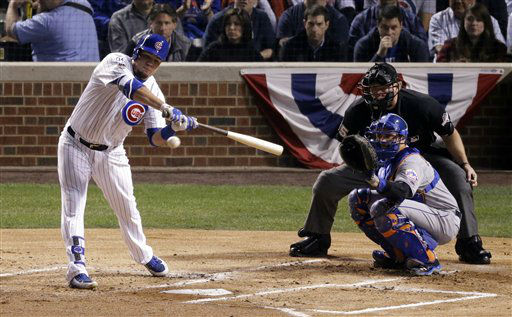 "<div class=""meta image-caption""><div class=""origin-logo origin-image none""><span>none</span></div><span class=""caption-text"">Chicago Cubs' Kyle Schwarber hits a home run during the first inning of Game 3 against the New York Mets. (AP Photo/David Goldman) (AP Photo/ David Goldman)</span></div>"