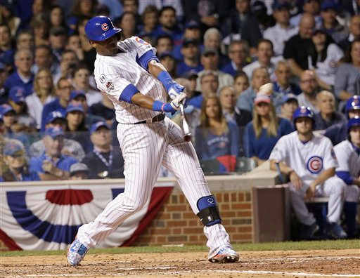 "<div class=""meta image-caption""><div class=""origin-logo origin-image none""><span>none</span></div><span class=""caption-text"">Chicago Cubs' Jorge Soler hits a home run during the fourth inning of Game 3.   (AP Photo/David J. Phillip)</span></div>"