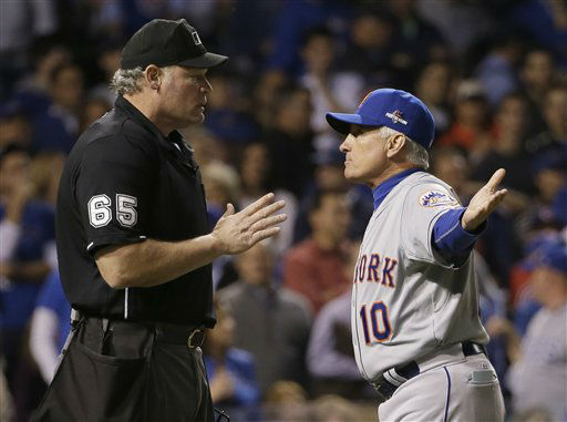 "<div class=""meta image-caption""><div class=""origin-logo origin-image none""><span>none</span></div><span class=""caption-text"">New York Mets manager Terry Collins argues a call with home plate umpire Ted Barrett during the sixth inning of Game 3. (AP Photo/David J. Phillip) (AP Photo/ David J. Phillip)</span></div>"