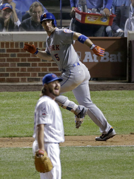 "<div class=""meta image-caption""><div class=""origin-logo origin-image none""><span>none</span></div><span class=""caption-text"">Chicago Cubs pitcher Travis Wood reacts to a double by New York Mets' David Wright during the seventh inning of Game 3. (AP Photo/David Goldman) (AP Photo/ David Goldman)</span></div>"