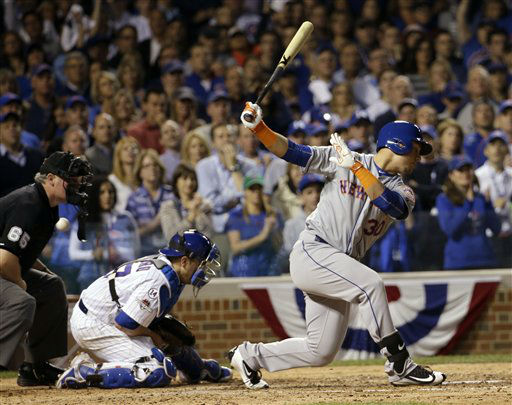 "<div class=""meta image-caption""><div class=""origin-logo origin-image none""><span>none</span></div><span class=""caption-text"">Cubs catcher Miguel Montero can't handle a pitch as Mets' Michael Conforto bats during the sixth inning. Yoenis Cespedes scored from third on the play. (AP Photo/David J. Phillip) (AP Photo/ David J. Phillip)</span></div>"