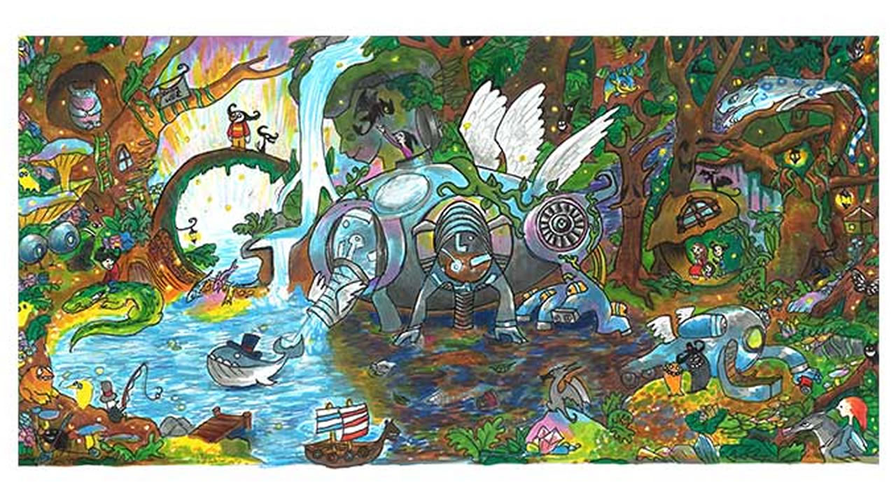 Audrey Zhang's winning Google Doodle shows a water purification system.
