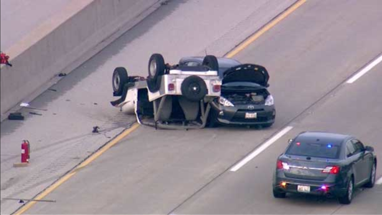 At least one person was killed in a rollover crash on westbound I-88 near Route 31 in southwest suburban Aurora.