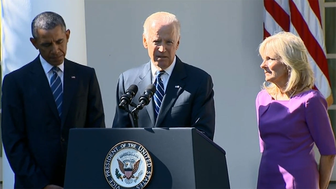 Vice President Joe Biden announced his decision not run for president in 2016 in the Rose Garden, flanked by President Barack Obama and his wife Dr. Jill Biden.