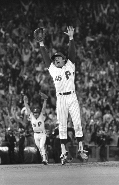 "<div class=""meta image-caption""><div class=""origin-logo origin-image none""><span>none</span></div><span class=""caption-text"">Philadelphia Phillies relief pitcher Tug McGraw leaps as Kansas City Royals batter Willie Wilson strikes out to end the game and give the Phillies the World Series. (Photo/STAFF)</span></div>"