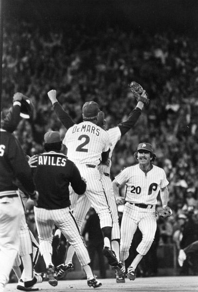 "<div class=""meta image-caption""><div class=""origin-logo origin-image none""><span>none</span></div><span class=""caption-text"">Philadelphia Phillies third baseman Mike Schmidt (20) races to celebrate with Phillies relief pitcher Tug McGraw, arms upraised, and coach Billy DeMars .</span></div>"