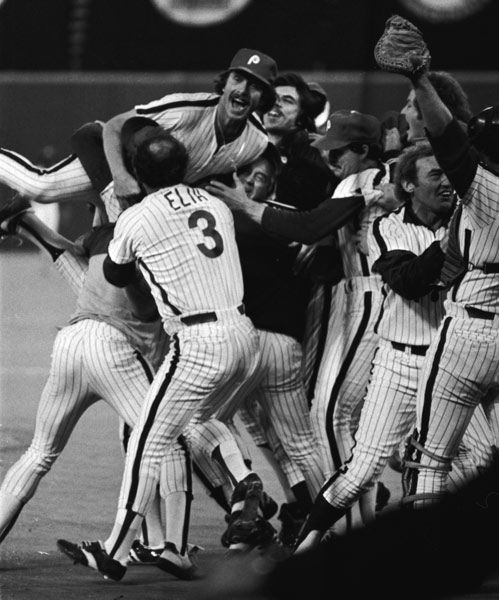 "<div class=""meta image-caption""><div class=""origin-logo origin-image none""><span>none</span></div><span class=""caption-text"">Philadelphia Phillies third baseman Mike Schmidt leaps onto teammates' shoulders after the Phillies defeated the Kansas City Royals. (Photo/Anonymous)</span></div>"