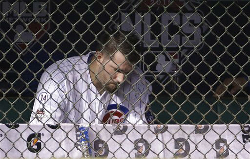"<div class=""meta image-caption""><div class=""origin-logo origin-image none""><span>none</span></div><span class=""caption-text"">Chicago Cubs pitcher Jason Hammel sits in the dugout after being taken out of the game. (AP Photo/ David J. Phillip)</span></div>"