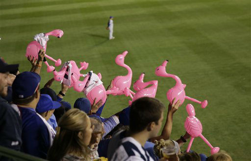 "<div class=""meta image-caption""><div class=""origin-logo origin-image none""><span>none</span></div><span class=""caption-text"">Fans hold up pink flamingos during the fourth inning. (AP Photo/ David Goldman)</span></div>"