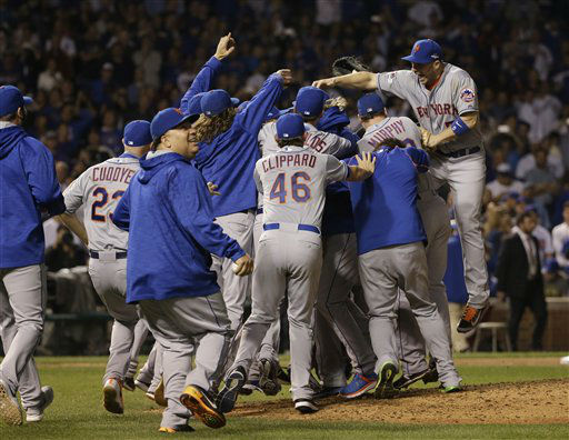 "<div class=""meta image-caption""><div class=""origin-logo origin-image none""><span>none</span></div><span class=""caption-text"">The New York Mets celebrate after Game 4 of the National League baseball championship series against the Chicago Cubs Wednesday, (AP Photo/ David J. Phillip)</span></div>"