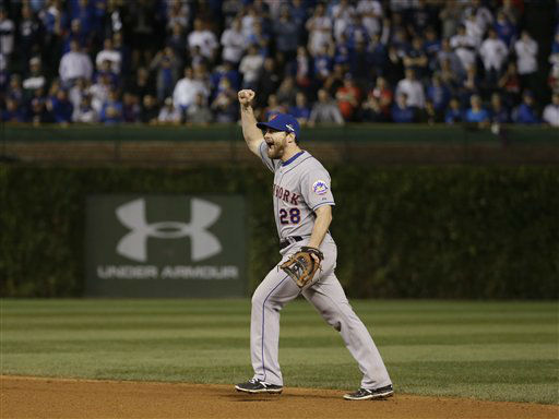 "<div class=""meta image-caption""><div class=""origin-logo origin-image none""><span>none</span></div><span class=""caption-text"">New York Mets' Daniel Murphy celebrates after Game 4. The Mets won 8-3 to advance to the World Series. (AP Photo/ David J. Phillip)</span></div>"
