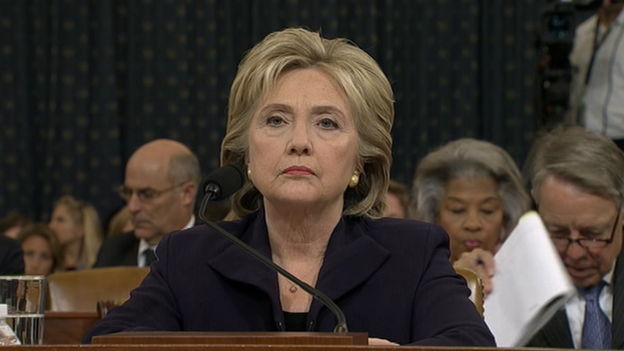 Democratic Presidential candidate and former Secretary of State Hillary Clinton appears before the House Select Committee investigating the 2012 Benghazi attack in Libya.
