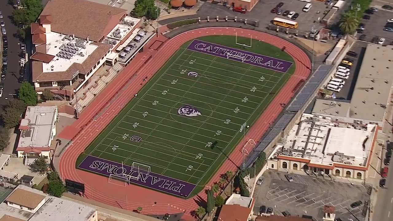 AIR7-HD shot of Cathedral High School's football field.