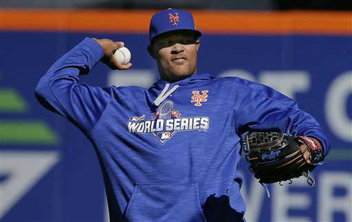 """<div class=""""meta image-caption""""><div class=""""origin-logo origin-image none""""><span>none</span></div><span class=""""caption-text"""">New York Mets relief pitcher Jeurys Familia throws in the outfield during a voluntary workout. (AP Photo/ Julie Jacobson)</span></div>"""