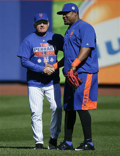 "<div class=""meta image-caption""><div class=""origin-logo origin-image none""><span>none</span></div><span class=""caption-text"">New York Mets manager Terry Collins, left, greets Juan Uribe. (AP Photo/ Julie Jacobson)</span></div>"
