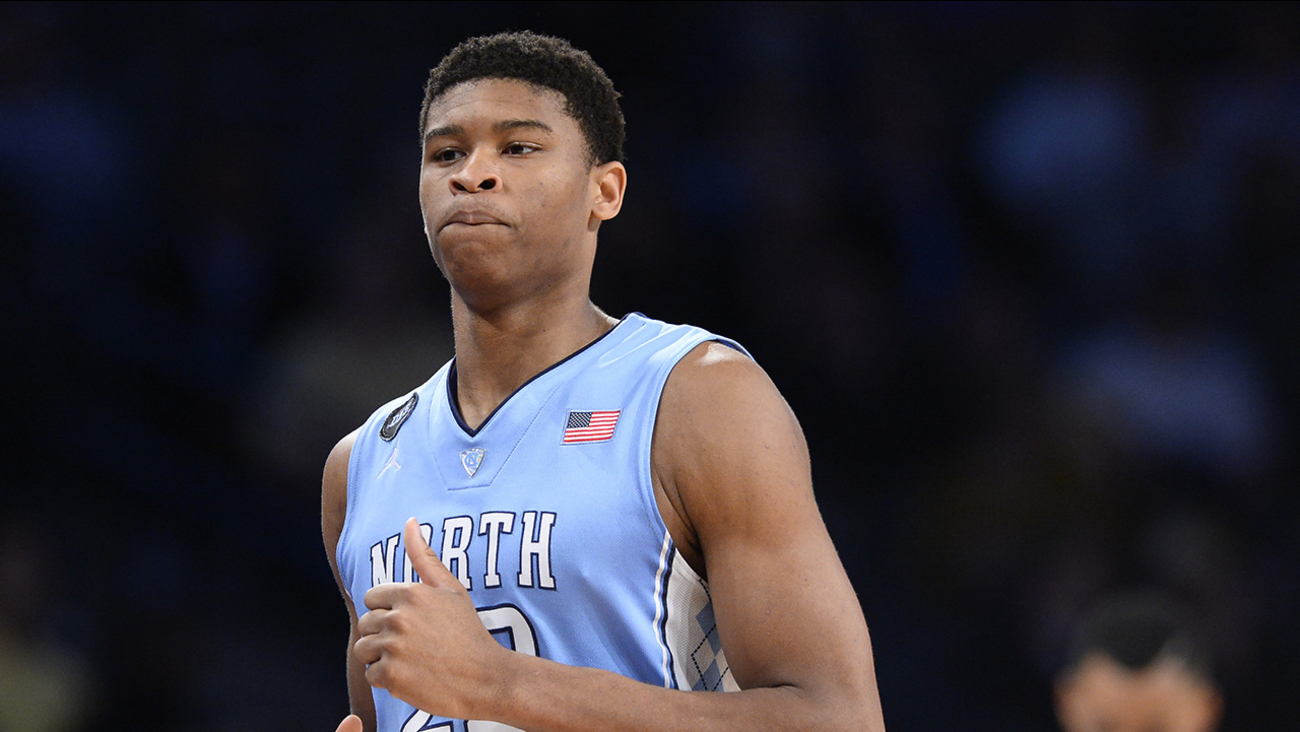 North Carolina forward Isaiah Hicks (22) exits the court during the second half of an NCAA college basketball game against Georgia Tech Tuesday, March 3, 2015