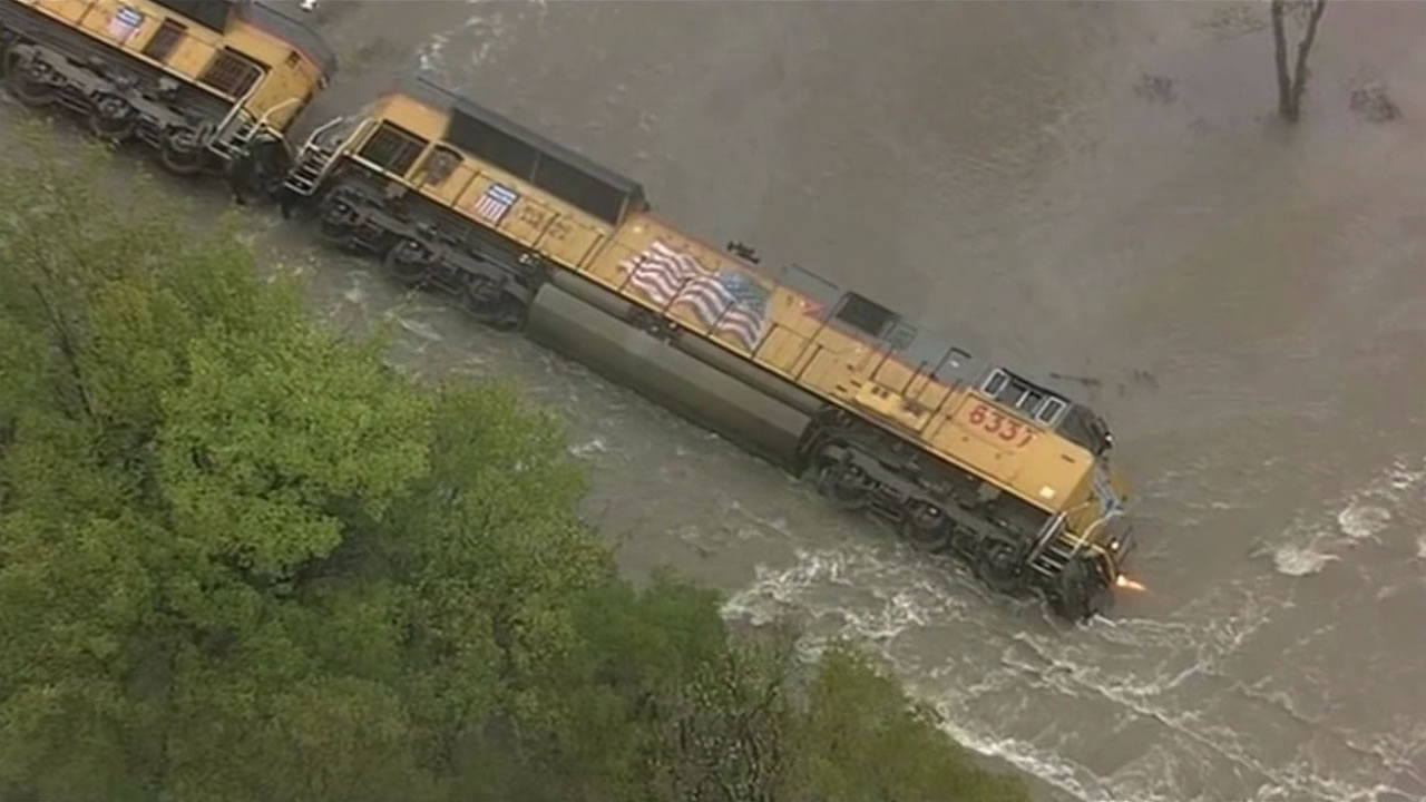 Heavy rain and floods from remnants of Hurricane Patricia caused a train to derail in Texas on Saturday, October 24, 2015.