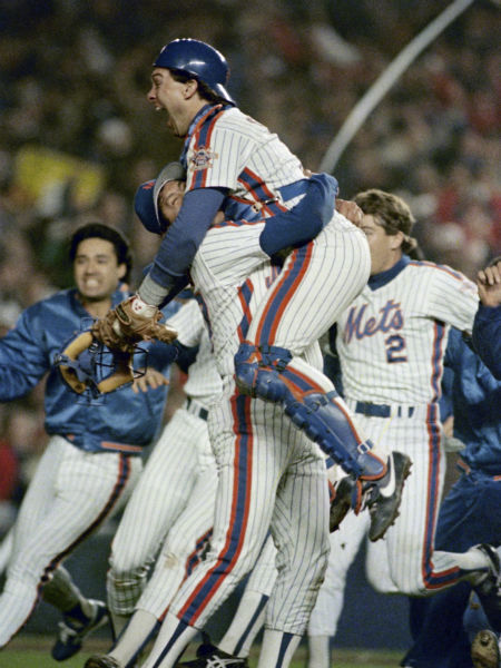"""<div class=""""meta image-caption""""><div class=""""origin-logo origin-image none""""><span>none</span></div><span class=""""caption-text"""">Mets catcher Gary Carter, right,  is lifted in the air by relief pitcher Jese Orosco following the 8-5 victory over in Game 7.   (AP Photo/Paul Benoit, File) (AP Photo/ Paul Benoit)</span></div>"""