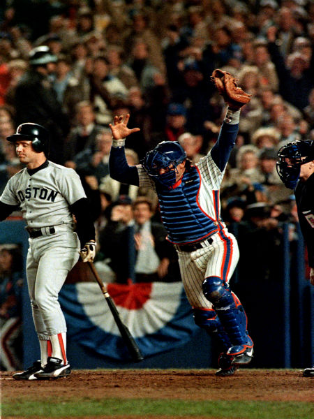 """<div class=""""meta image-caption""""><div class=""""origin-logo origin-image none""""><span>none</span></div><span class=""""caption-text"""">Mets catcher Gary Carter and Red Sox Marty Barrett show opposite reactions as Barrett struck out to end Game 7.  (AP Photo/Rusty Kennedy) (AP Photo/ RUSTY KENNEDY)</span></div>"""