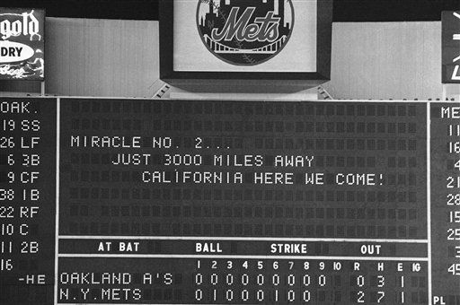 """<div class=""""meta image-caption""""><div class=""""origin-logo origin-image none""""><span>none</span></div><span class=""""caption-text"""">Scoreboard at Shea Stadium indicates hopes of Mets fans after Mets beat A's, 2-0, to take a 3-2 game advantage. (AP Photo) (AP Photo/ R3, N.  XCJ)</span></div>"""