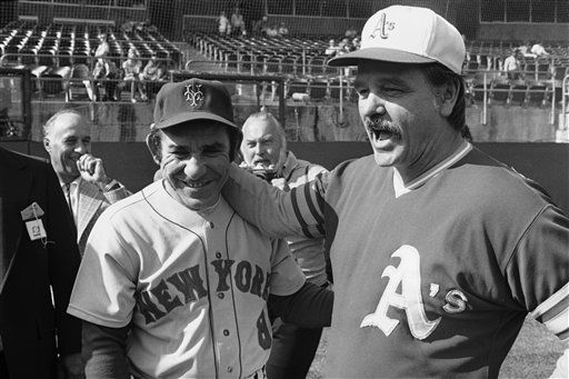 """<div class=""""meta image-caption""""><div class=""""origin-logo origin-image none""""><span>none</span></div><span class=""""caption-text"""">Mets manager Yogi Berra, left, and Oakland A's Manager Dick Williams greet each other during pre-game workouts in Oakland. (AP Photo) (AP Photo/ Anonymous)</span></div>"""