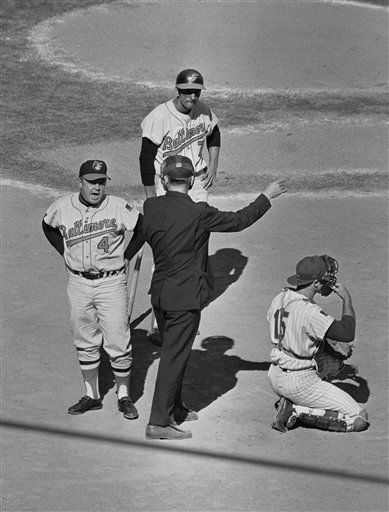 """<div class=""""meta image-caption""""><div class=""""origin-logo origin-image none""""><span>none</span></div><span class=""""caption-text"""">Orioles manager Earl Weaver gets thrown out of the game from home plate umpire Shag Crawford in the third inning of Game 4. (AP Photo) (AP Photo/ XJM)</span></div>"""