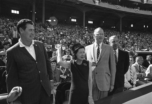 """<div class=""""meta image-caption""""><div class=""""origin-logo origin-image none""""><span>none</span></div><span class=""""caption-text"""">Claire Ruth, widow of Yankees legend Babe Ruth, throws out the first ball to open Game 2 in Baltimore.. (AP Photo) (AP Photo/ IP RM, GP. KEY R4, D. XMB)</span></div>"""