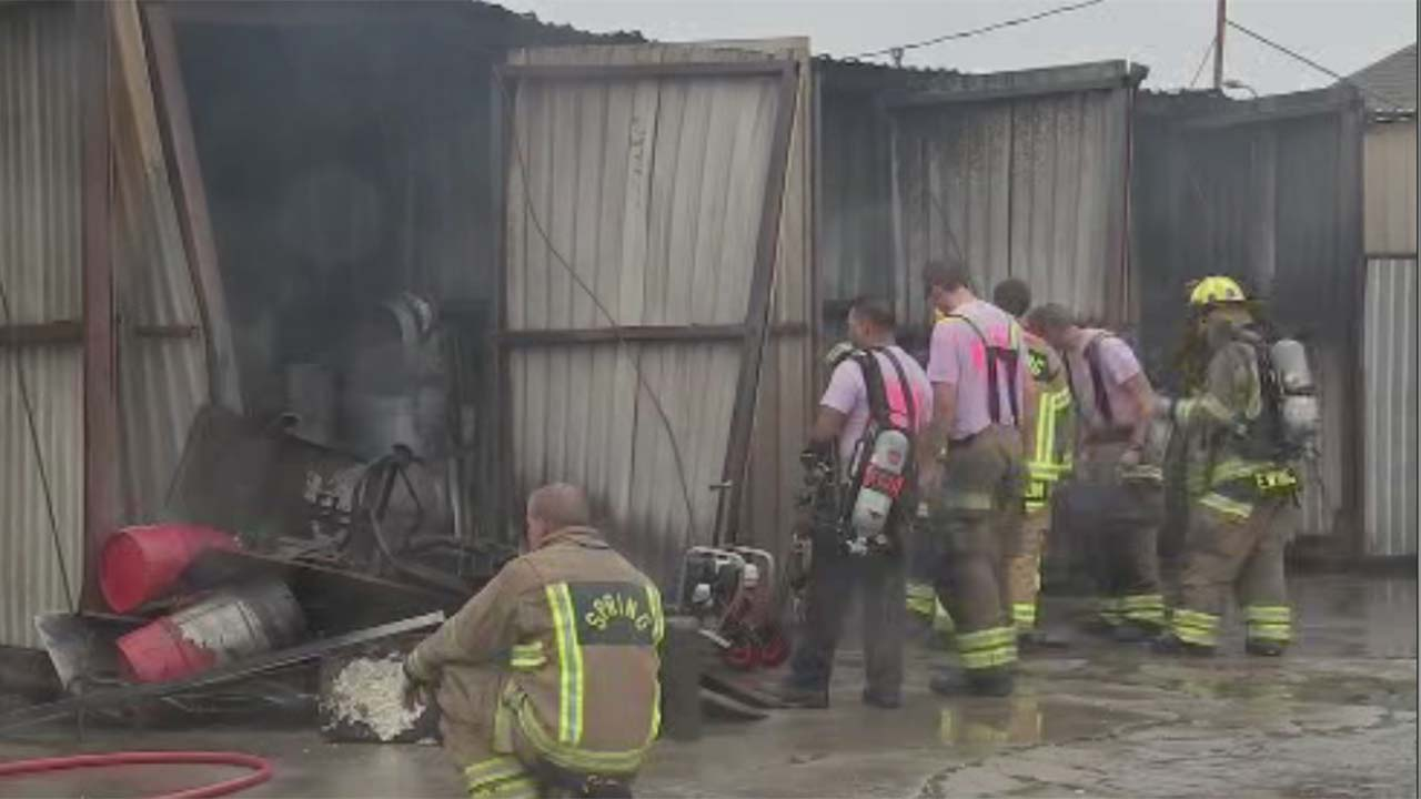 Firefighters on the scene of a warehouse blaze in Spring