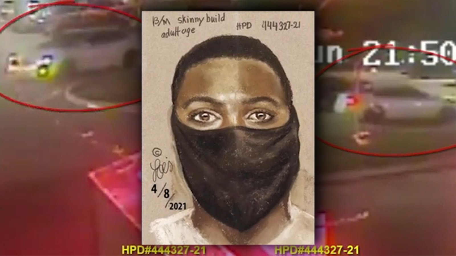 There's a devil loose: Sketch of suspect and surveillance video released after father is shot dead in front of daughter in west Houston