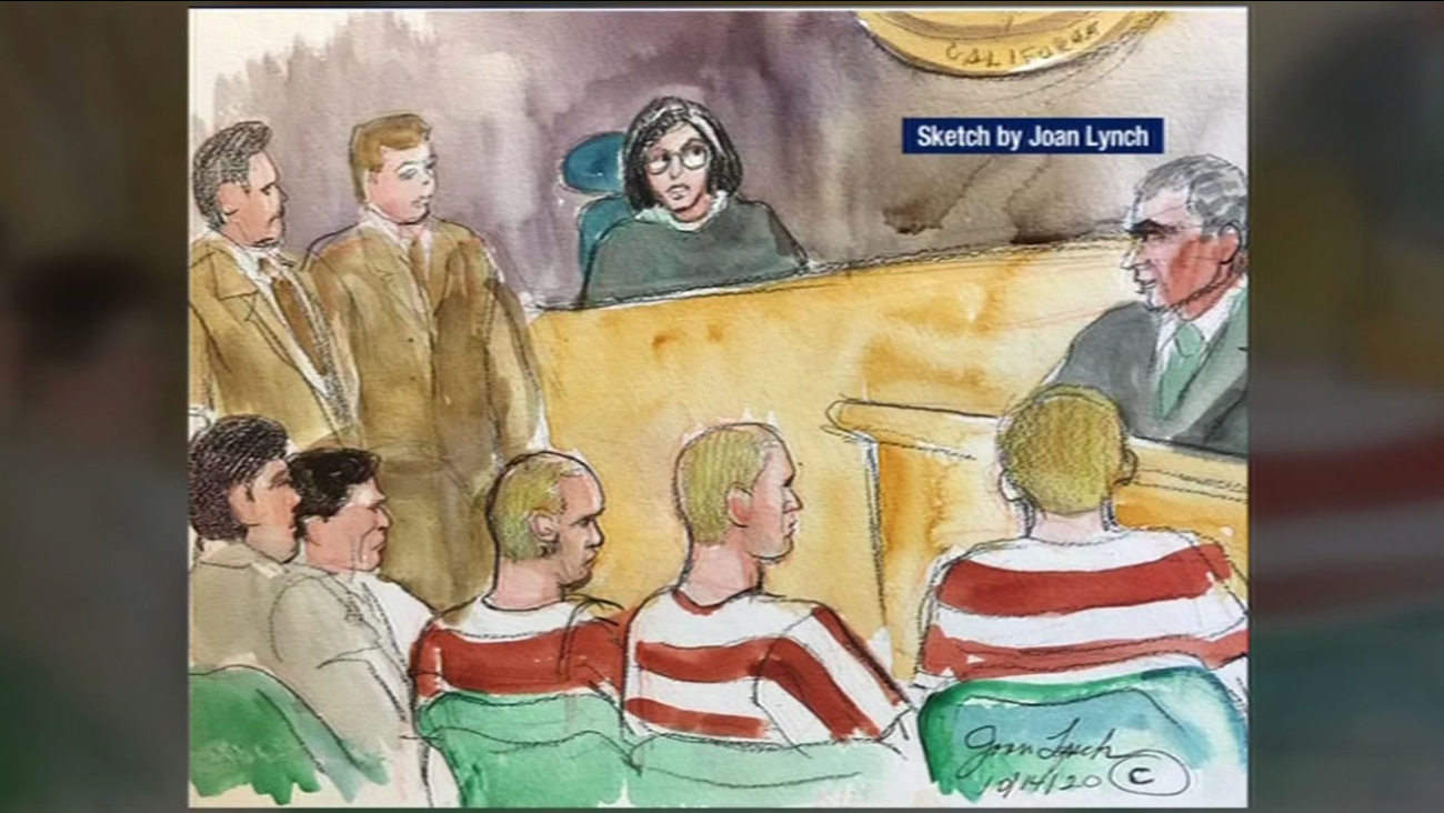 This sketch shows murder suspects Lila Alligood, Morrison Lampley and Sean Angold in Marin County Court on Monday, October 26, 2015.