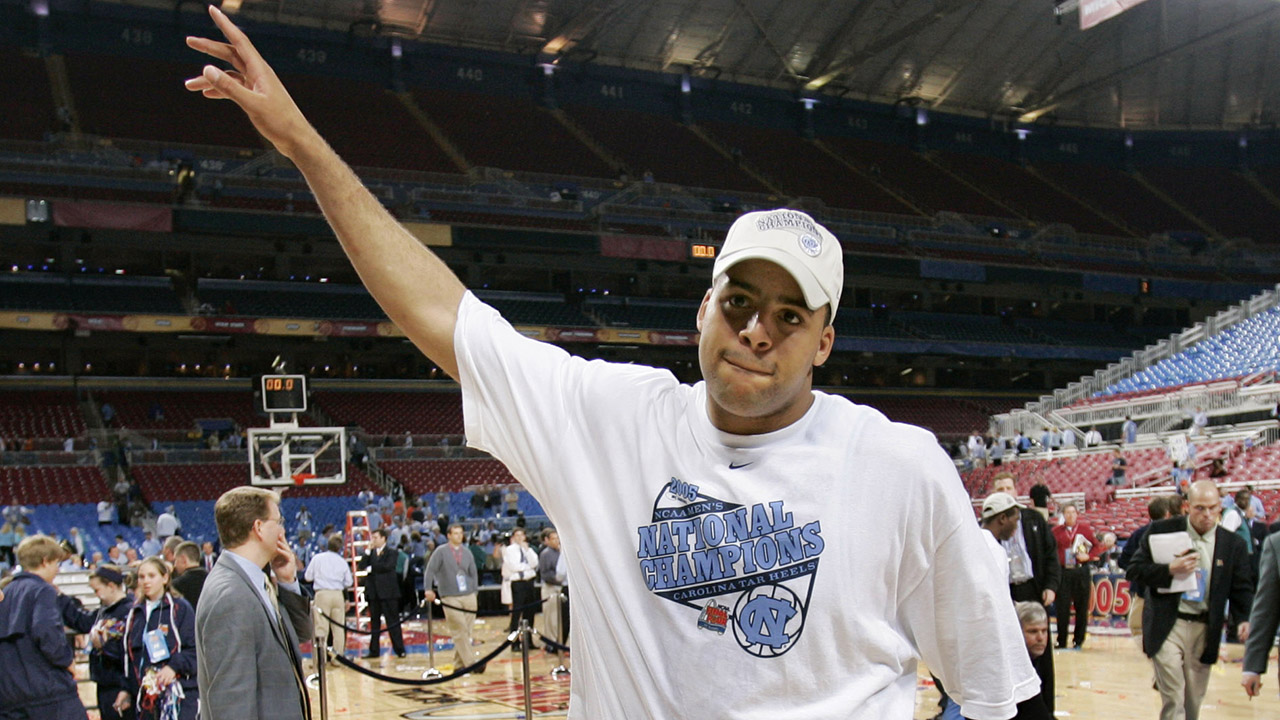 North Carolina's Sean May waves to the crowd as UNC celebrates their 75-70 over Illinois in the NCAA championship game Monday, April 4, 2005