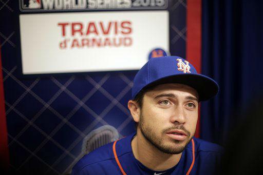 "<div class=""meta image-caption""><div class=""origin-logo origin-image none""><span>none</span></div><span class=""caption-text"">New York Mets catcher Travis d'Arnaud talks during media day. (AP Photo/ Charlie Riedel)</span></div>"