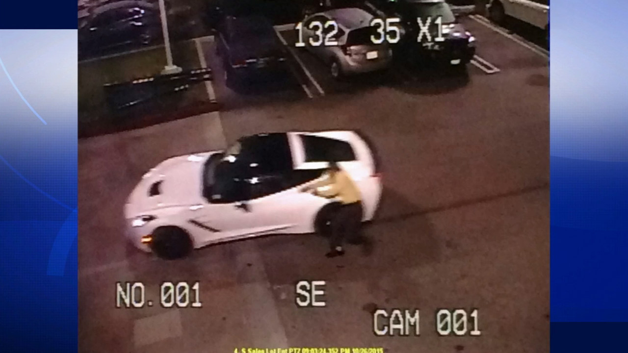 Surveillance footage captured from a Culver City Chevrolet dealership shows an employee trying to stop a carjacking on Monday, Oct. 26, 2015.