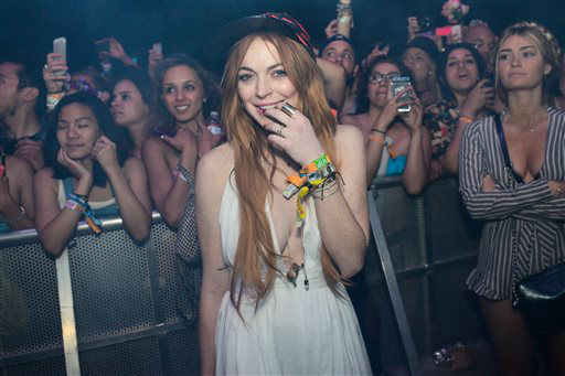 <div class='meta'><div class='origin-logo' data-origin='none'></div><span class='caption-text' data-credit='Photo/Scott Roth'>FILE - This April 13, 2014 file photo shows Lindsay Lohan watching Lana Del Rey perform at the 2014 Coachella Music and Arts Festival, in Indio, Calif.</span></div>