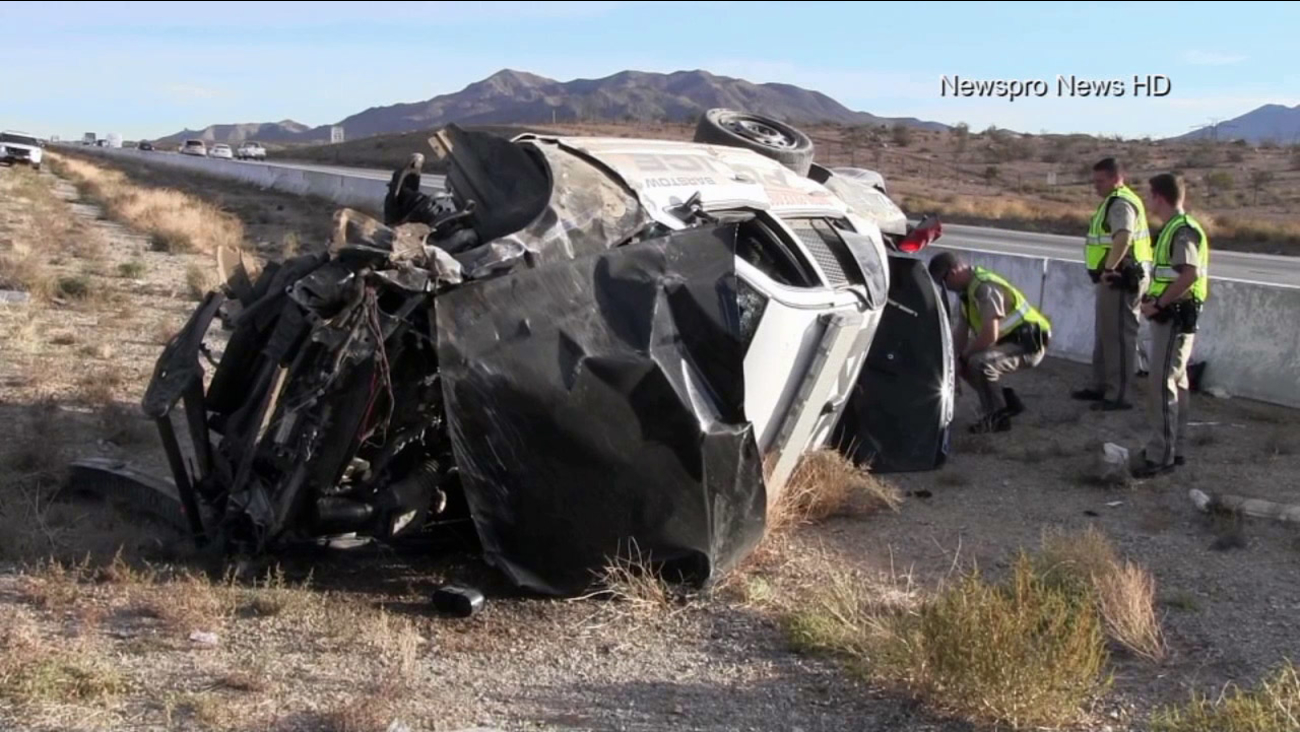 A Barstow police officer suffered major injuries in a rollover crash on Interstate 15 on Tuesday, Oct. 27, 2015.