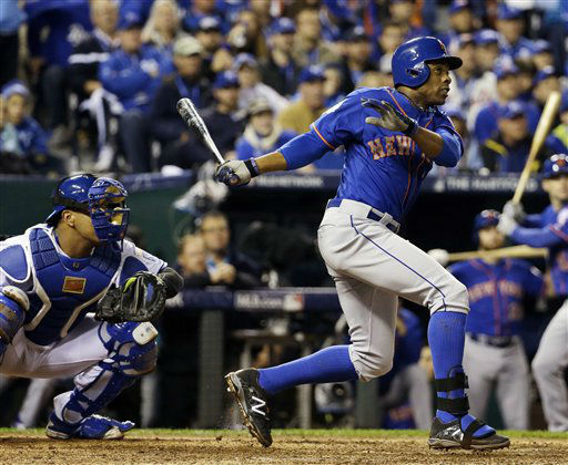 "<div class=""meta image-caption""><div class=""origin-logo origin-image none""><span>none</span></div><span class=""caption-text"">Mets' Curtis Granderson hits a home run during the fifth inning of Game 1 (AP Photo/David J. Phillip) (AP Photo/ David J. Phillip)</span></div>"