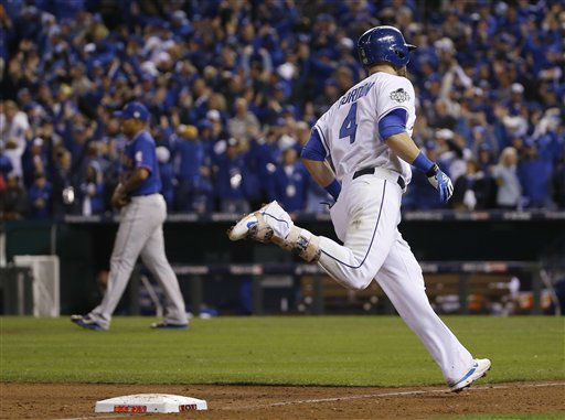 "<div class=""meta image-caption""><div class=""origin-logo origin-image none""><span>none</span></div><span class=""caption-text"">Royals' Alex Gordon rounds third base after hitting a solo home run during the ninth inning of Game 1. (AP Photo/Matt Slocum) (AP Photo/ Matt Slocum)</span></div>"
