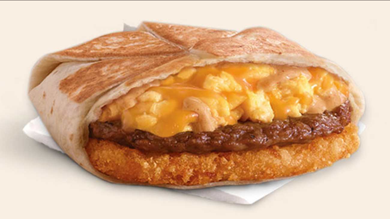 A Taco Bell breakfast Crunchwrap is shown in an undated photo.
