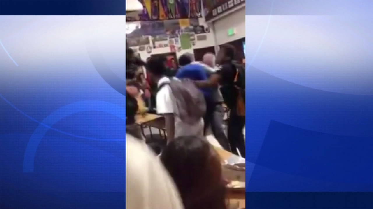 Cellphone video footage captured a brawl between three students at a Florin High School in Sacramento, Calif. Oct. 26, 2015.