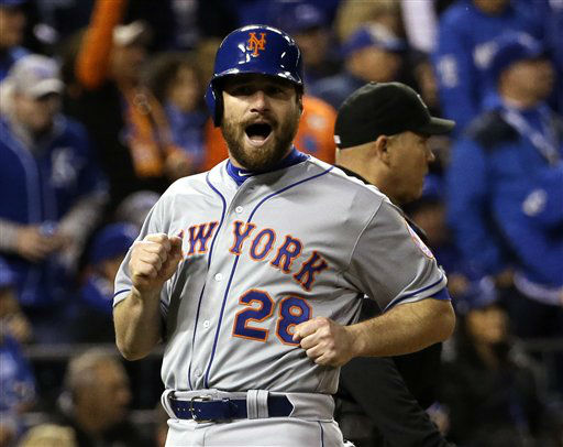 "<div class=""meta image-caption""><div class=""origin-logo origin-image none""><span>none</span></div><span class=""caption-text"">New York Mets' Daniel Murphy reacts as he scores from second on a hit by Lucas Duda during the fourth inning of Game 2. (AP Photo/ David J. Phillip)</span></div>"