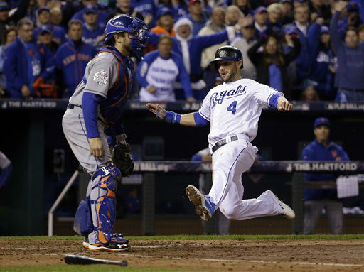 "<div class=""meta image-caption""><div class=""origin-logo origin-image none""><span>none</span></div><span class=""caption-text"">Kansas City Royals' Alex Gordon (4) scores past New York Mets catcher Travis d'Arnaud during the fifth inning of Game 2. (AP Photo/ David J. Phillip)</span></div>"