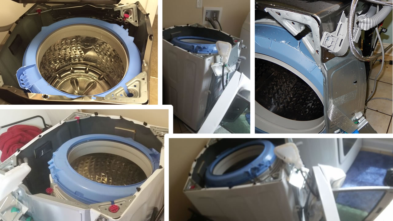 Consumers claim some Samsung washing machines come apart violently.