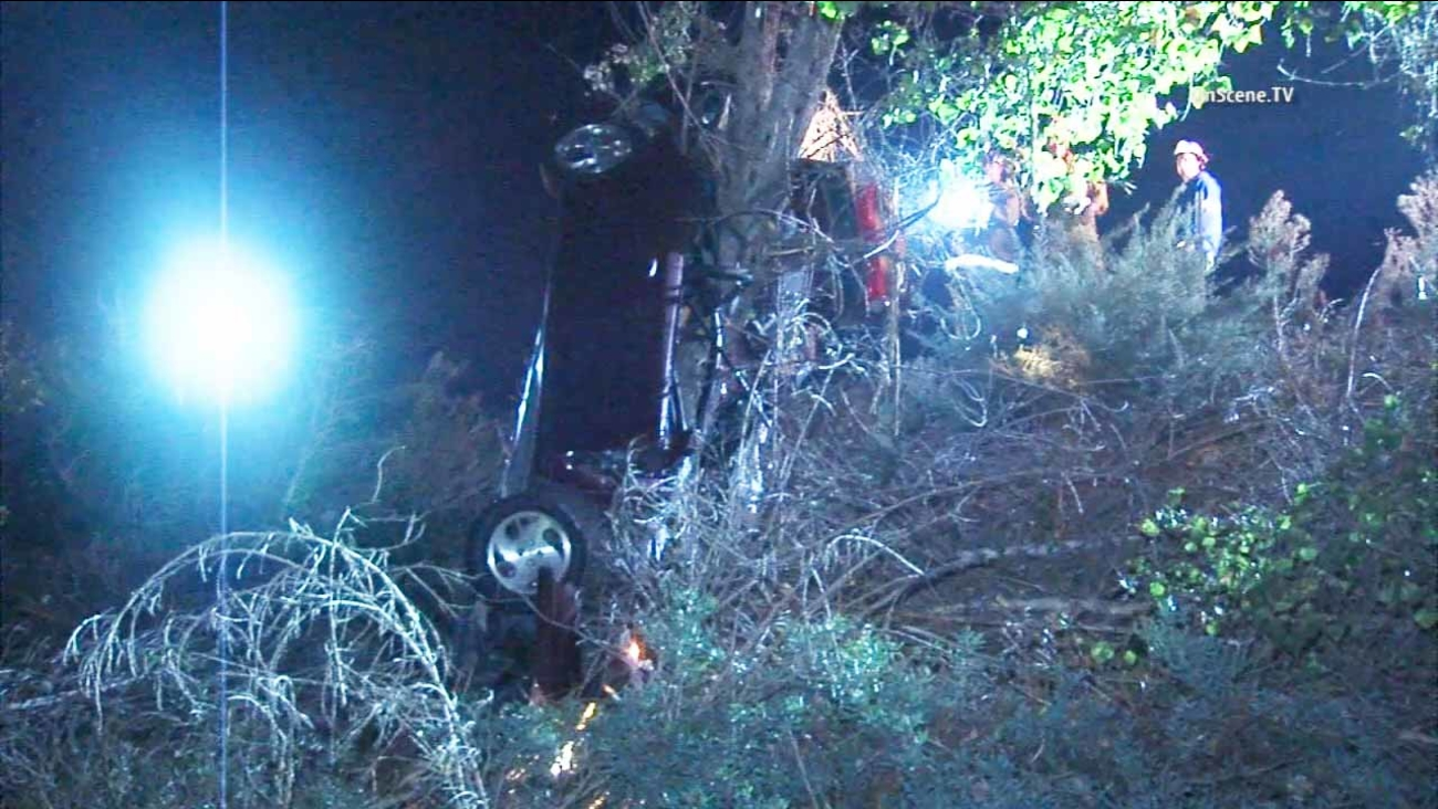A black Nissan sedan is seen crashed into a tree in Cerritos early Thursday, Oct. 29, 2015.