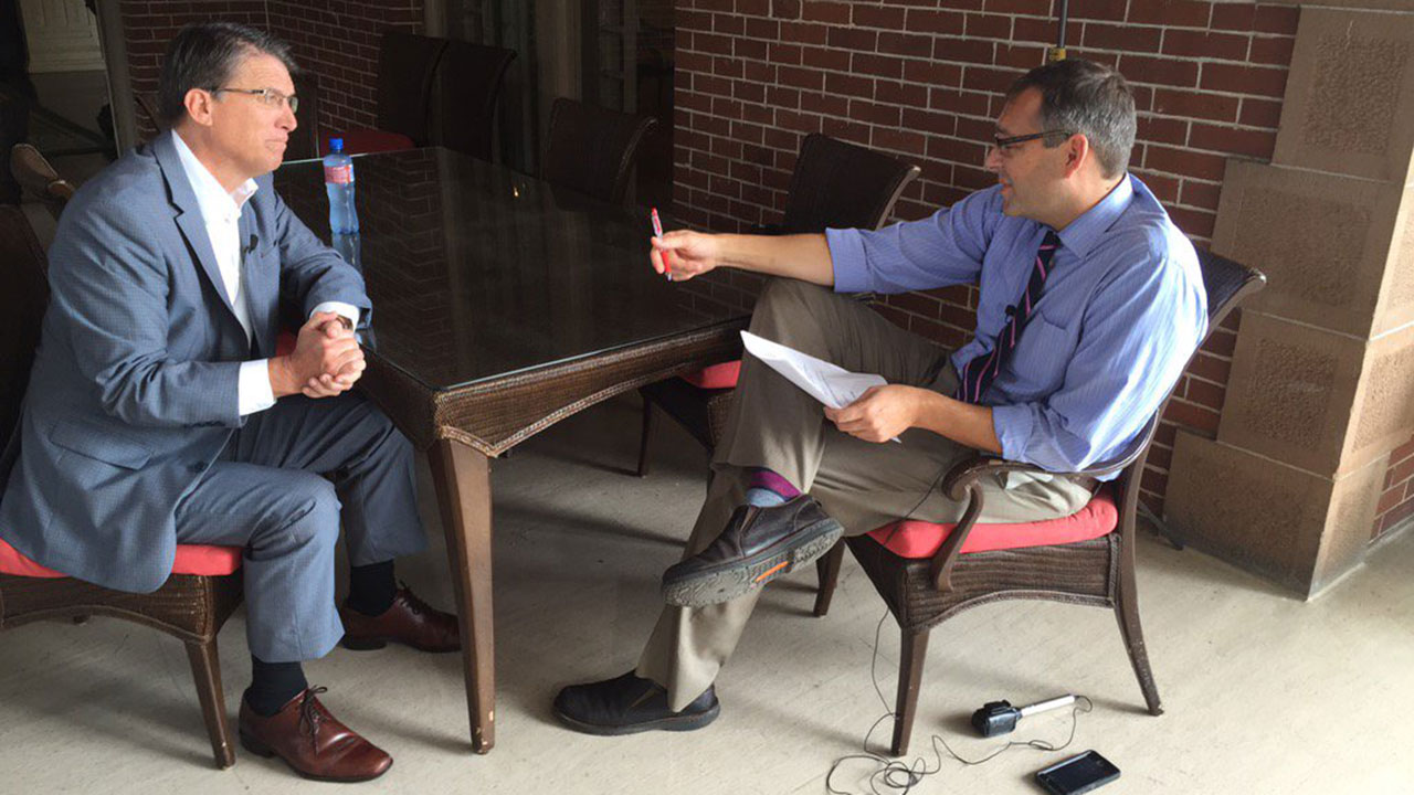 NC Gov. Pat McCrory sat down with ABC11's Jon Camp Thursday