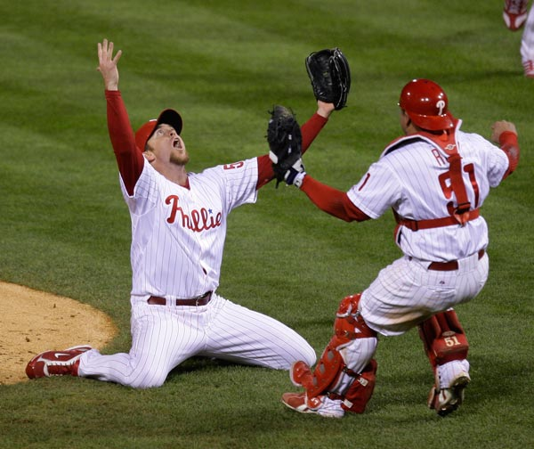 "<div class=""meta image-caption""><div class=""origin-logo origin-image none""><span>none</span></div><span class=""caption-text"">Philadelphia Phillies' Brad Lidge, left, and Carlos Ruiz react after their victory in Game 5 of the baseball World Series in Philadelphia, Wednesday, Oct. 29, 2008. (AP Photo/Julie Jacobson)</span></div>"