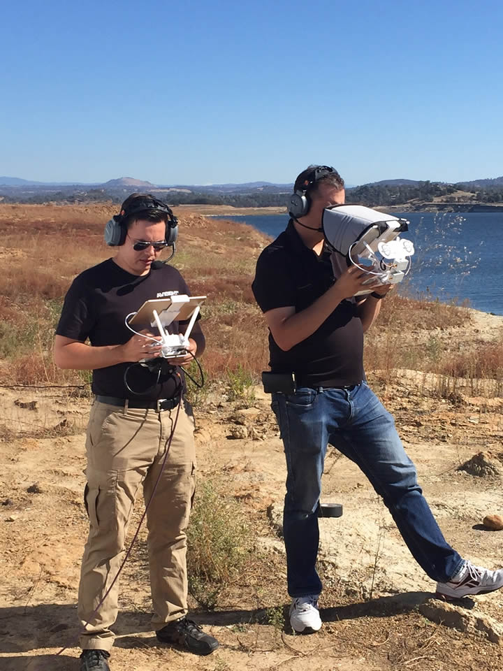 """<div class=""""meta image-caption""""><div class=""""origin-logo origin-image none""""><span>none</span></div><span class=""""caption-text"""">The operators of DroneView7 are seen by the Camanche Reservoir near Stockton, Calif. on Thursday, October 29, 2015. (KGO-TV)</span></div>"""