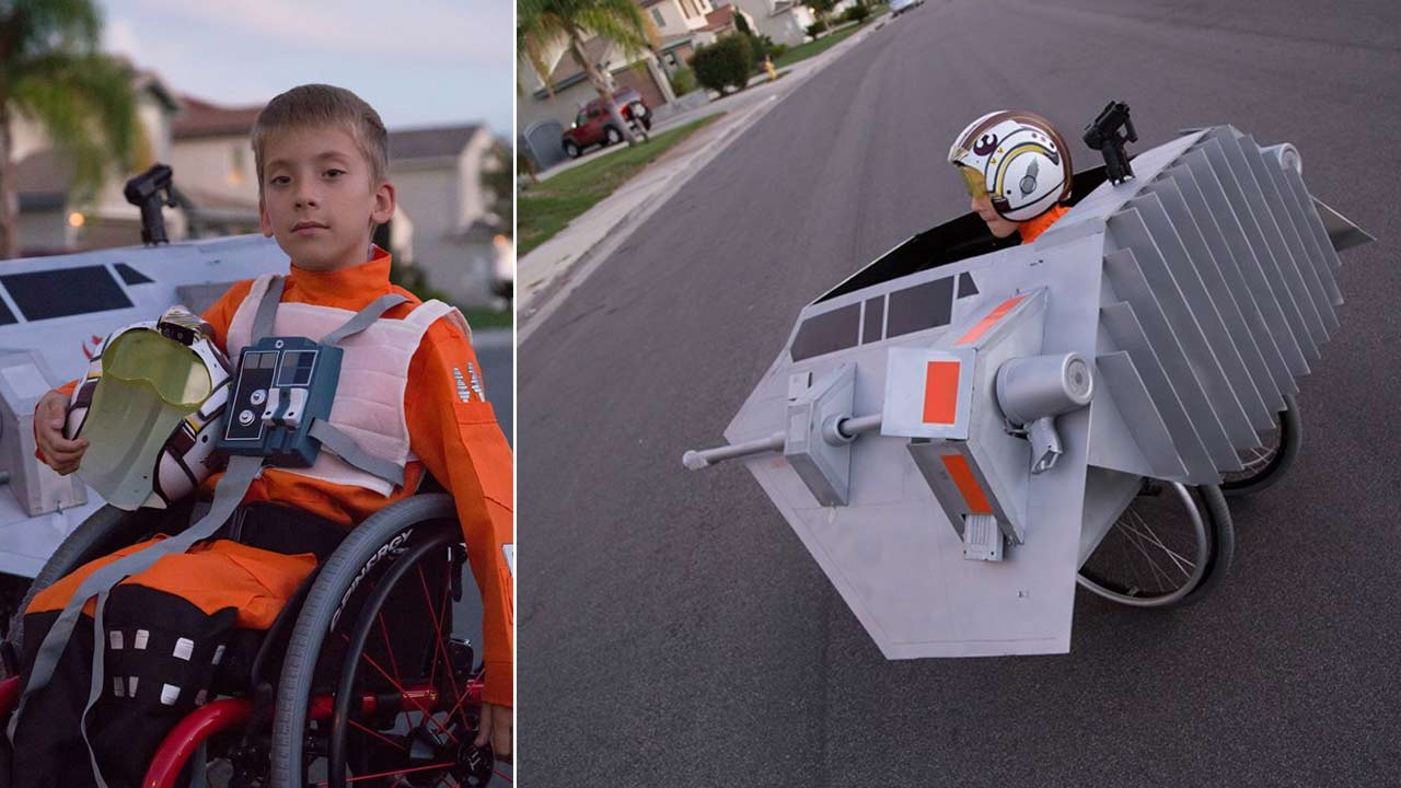 Jeremy Miller, 7, is seen wearing a custom-made Star Wars snowspeeder costume built by his father for Halloween.