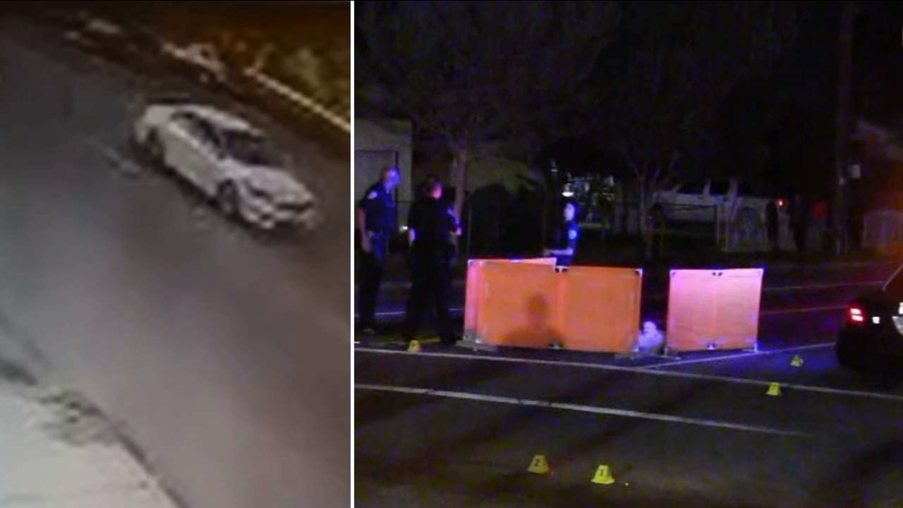 Surveillance video shows a white sedan that struck and killed an elderly woman in San Bernardino Thursday, Oct. 29, 2015.